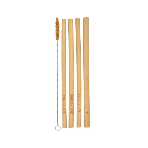 Bamboo Straws & Coconut Bristle Brush