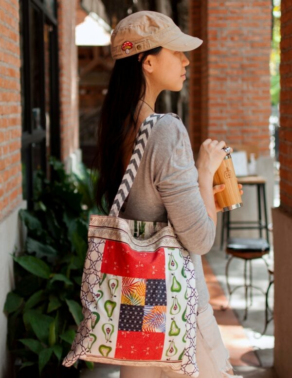 Woman with tote over shoulder