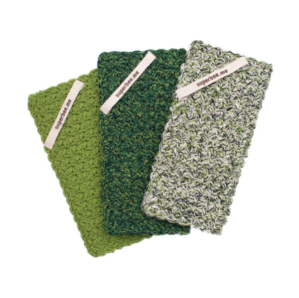 Set of 3 Eco Dishcloths fanned out
